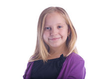 Pleased Girl in Purple Royalty Free Stock Photos