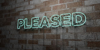 PLEASED - Glowing Neon Sign on stonework wall - 3D rendered royalty free stock illustration Stock Image