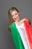 Pleased Italian supporter with the national flag Royalty Free Stock Images