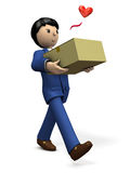 He is pleased that the item he ordered has arrived. 3D illustration Royalty Free Stock Images