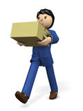 He is pleased that the item he ordered has arrived. 3D illustration Royalty Free Stock Image