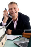 Pleased male at work Royalty Free Stock Photography