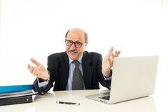 Pleased mature business man in his 60s working on laptop confident of success royalty free stock photo