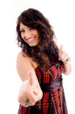 Pleased model with thumbs up Royalty Free Stock Photos