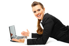 Pleased modern business woman using laptops Stock Photos