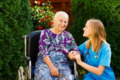 Pleased with the Nursing Home Services Royalty Free Stock Photo