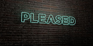 PLEASED -Realistic Neon Sign on Brick Wall background - 3D rendered royalty free stock image. Can be used for online banner ads and direct mailers Vector Illustration
