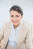 Pleased smart brown haired businesswoman looking at camera Stock Photos