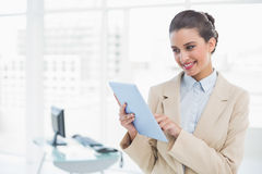 Pleased smart brown haired businesswoman using a tablet pc Royalty Free Stock Images