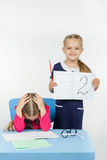 Pleased with the teacher put a deuce student Stock Photo