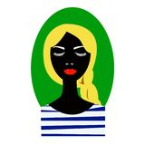 Pleased woman with her eyes closed and queue balck silhouette vector illustration