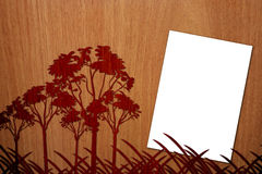 Pleasent Wood On Wood Background with Page - 3. There are a wooden wood on a wood background, with a a4 white empty page Stock Photo