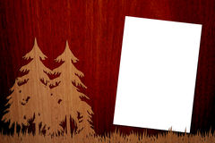 Pleasent Wood On Wood Background with Page. There are a wooden wood on a wood background, with a a4 white empty page Royalty Free Stock Images