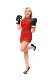 Pleasing blond woman in boxing gloves Stock Image