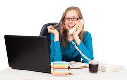 Pleasing phone call Stock Photo