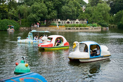 Pleasure-boat. Shape like duck ,in the park, liyuan,wuxi Stock Photos