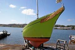 Pleasure Boat. Fish, fishing, boat, boats, ship, ships, wharf, yacht, pleasure, sail, Mahone Bay, Nova Scotia, ocean, sea, rock, rocks, harbour, harbor, sunny royalty free stock photography