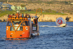 Pleasure boat along the coast of Ayia Napa stock photography