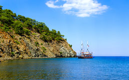 Pleasure boat at anchor. The Bay Of Phaselis. Turkey Stock Photos