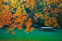 Pleasure boat at Arashiyama in Autumn season. The famous ways to explore Arashiyama is by renting a boat stock photo
