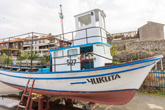 Pleasure boat on the beach in Nessebar in Bulgaria Royalty Free Stock Images