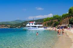 Pleasure boat at beach of Peninsula Sithonia, Greece Stock Image