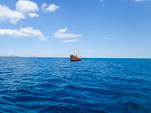 Pleasure boat in Black sea in Koktebel Royalty Free Stock Photography