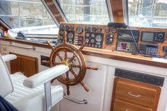Pleasure boat captain's cabin Stock Photo