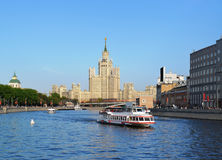 Pleasure boat, city center, Moscow river Stock Photos