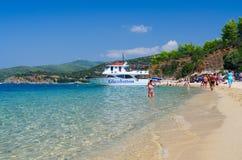 Pleasure boat at the coast of the peninsula Sithonia, Greece Royalty Free Stock Photo