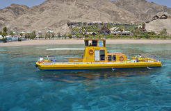 Pleasure boat at the coral reef near Eilat Stock Photos