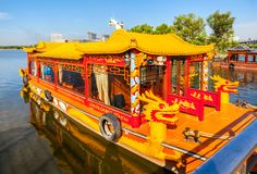 Pleasure-boat with the dragon decoration Royalty Free Stock Images