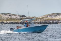 Pleasure boat fishing stock image