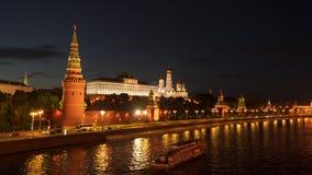 Pleasure boat floats near the Kremlin in Moscow stock footage