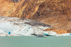 Pleasure boat floats to the glacier Royalty Free Stock Photos