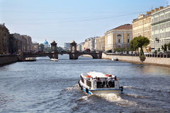 Pleasure boat on Fontanka river Stock Images