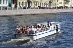 Pleasure boat on the Fontanka Royalty Free Stock Photo