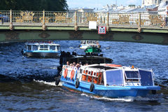 Pleasure boat on the Fontanka Stock Images