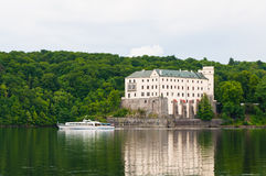 Pleasure boat in front of Orlik Castle Stock Photos