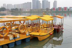 Pleasure boat in the haicang lake Royalty Free Stock Photo