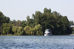 Pleasure boat. On Herastrau lake in Bucharest Stock Image