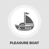 Pleasure Boat Icon. Vector. Flat icon isolated on the white background. Editable EPS file. Vector illustration Stock Photos
