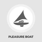 Pleasure Boat Icon. Vector. Flat icon isolated on the white background. Editable EPS file. Vector illustration Stock Photo