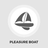 Pleasure Boat Icon. Vector. Flat icon isolated on the white background. Editable EPS file. Vector illustration Royalty Free Stock Image