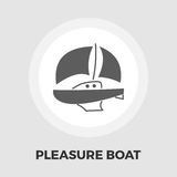 Pleasure Boat Icon. Vector. Flat icon  on the white background. Editable EPS file. Vector illustration Royalty Free Stock Photo