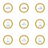 Pleasure boat icons set, cartoon style Stock Images