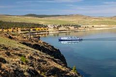 Pleasure boat on lake Baikal stock photography
