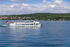 Pleasure boat on Lake Constance. Picturesque view of pleasure boat on Lake Bodensee, Germany royalty free stock image