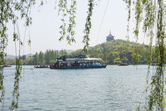 pleasure-boat and leifeng pagoda Stock Images