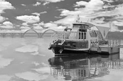 Pleasure boat on a lonely river Royalty Free Stock Images